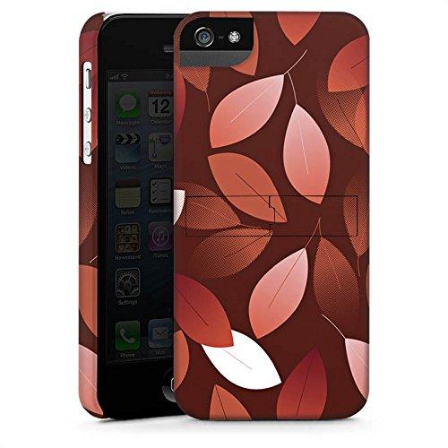 Apple iPhone SE Hülle Case Handyhülle Herbst Blätter Bronze Premium Case StandUp
