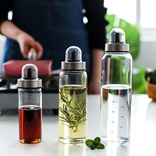 Fyuan Olivenöl und Essig Dispenser - 17 oz Klarglas Cruet Flaschen zum Kochen mit keinen Tropf Auslauf Staubschutz - Küche Dispensing Cruces-Öl Ausgießer Dispensing - Olivenöl Top Gießen