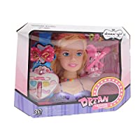 Allkindathings girls Hair Styling Dream Girl Dolls Head Play Set with Accessories