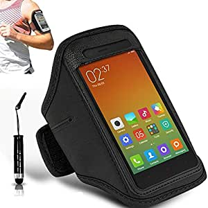 N+ INDIA Xiaomi Redmi 3 Pro Adjustable Armband Gym Running Jogging Sports Case Cover Holder With Mini Touch Stylus pen Black
