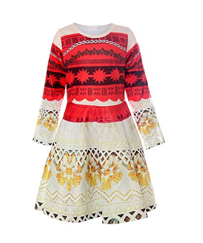 ReliBeauty Mädchen Kleid Disney Langarm Rundausschnitt Digitaldruck Muster Prinzessin Moana Kostüme, Rot, 130 (Disney Winter Kostüme)