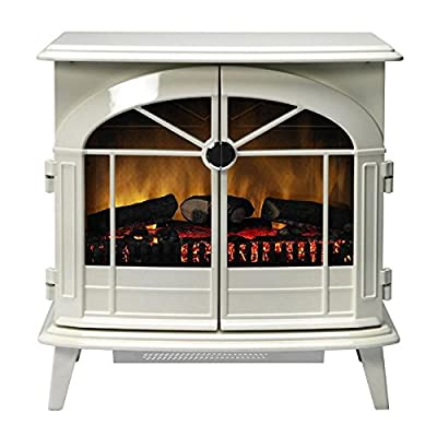 Authentic cast-iron style Fireplace/Stove/Heater with a creamy white enamel effect finish- 2kW Dimplex Chevalier Electric Flame Effect Fireplace/Stove/Heater with Optiflame in Cream With Remote Control