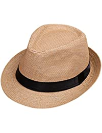 8b9687fd7b7 Minshao Kids Straw Jazz Hat Summer Children Beach Panama Trilby Fedora Hat  Gangster Cap
