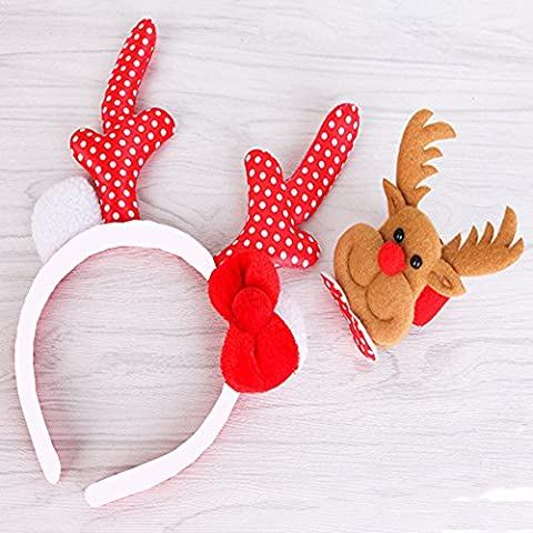 MISHOW Fun-Filled Halloween Christmas and Holiday Party Plush Reindeer Antlers Headband Hair Ornament (B Red Elk Suit)