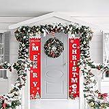 Aipaide Frohe Weihnachten Banner Rotes Weihnachts Hängende Zeichen Weihnachtsschmuck Drinnen Draußen Weihnachten Dekorationen für Party Zuhause Wand Tür Fenster