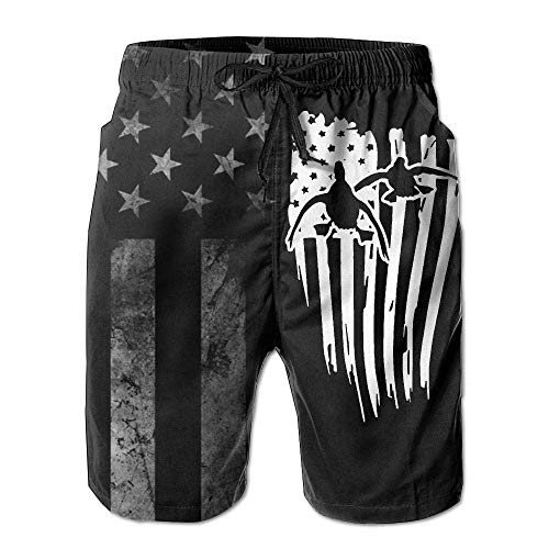 best gift American Flag Hunting Drake Duck Men's Beach Shorts Swim Trunks - Swimsuit Athletic Shorts Large Glory Boys Jeans