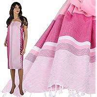 Telo da hammam peste Volta strandlaken telo doccia ASCIUGAMANO per sauna Kilt asciugamano in cotone felpato Isis rosa/rosa/bianco