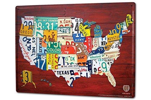 Blechschild XXL Urlaub Reisebüro USA Nummernschilder