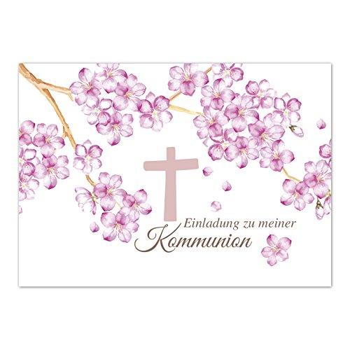 15 x Einladungskarten Kommunion mit Umschlag / Rosa Blüten mit Kreuz und Text / Kommunionskarten / Einladungen zur Feier