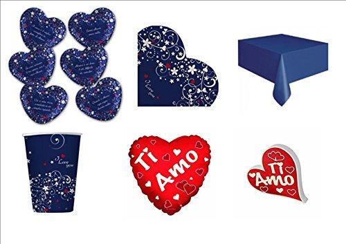 Cdc - kit n°7 Coordinato Love Message - San Valentino Amore da tavola per festa e party ed ogni ricorrenza - ( 6 piatti, 8 bicchieri , 16 tovaglioli,1 Tovaglia,1 Pallone Foil , 1 Scritta personalizzata