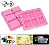 Joyoldelf 6 Hohlräume Seifenform Eiswürfelbehälter Kuchenform, 2 Stück,Rosa (Bild: Amazon.de)