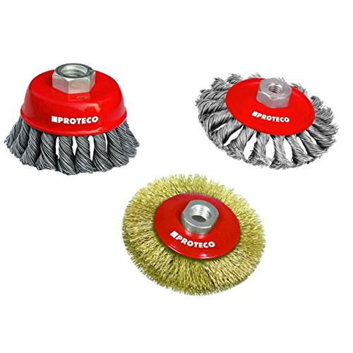 Proteco-Werkzeug® Drahtbürste Set 3 tlg für Einhand Winkelschleifer Stahldraht Topfbürste Kegelbürste Gewinde M14 x 2,0