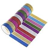 10Rollen Glitter Washi-Papier, wowot, Sticky Tapes Dekorative Masker Klebeband Label für DIY Basteln und Geschenk, 3m