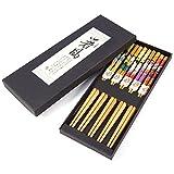 5 pares de estilo japonés sushi palillos regalo conjunto palillos de bambú conjunto