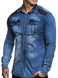 Tazzio Körperbetontes Jeans Hemd 16312 (L, 14602-Blau)