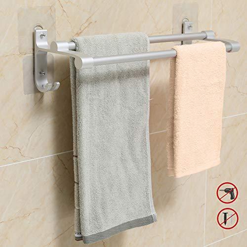 Hawsam Doppel Handtuchhalter für Badezimmer Ohne Bohren - Aluminium Selbstklebend Handtuchstange mit 2 Haken (40cm)