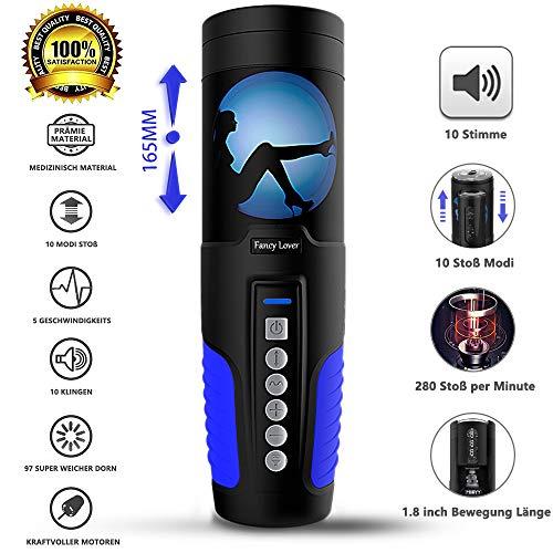 Automatischer Masturbator Cup Real Mund Vagina Teleskopischer Masturbatoren 10 Vibrationsmodi 10 Sexy Stimme Vibrator Sex Spielzeug für Männer Von Fancy Lover