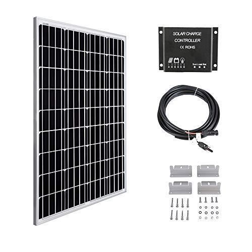 Betop-camp 100W 12V Panel Solar Kit-100W Panel Solar + 10A Controlador de Carga de luz LCD + 3m Cable Adaptador + Soporte de Montaje