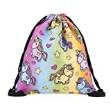 Miyaia Unicorn Prints Drawstring Backpack Women Girls Shoulder Bag