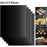 Lot de 5 tapis de cuisson en téflon anti-adhésif réutilisables, durables, faciles à nettoyer, pour griller la viande, les légumes, les fruits de mer, les œufs Idéal pour griller le