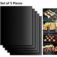 BBQ Grill Mat Set of 5 - Non Stick Oven Liner Teflon Cooking Mats - Reusable, Durable, Easy to Clean, Barbecue Sheets For Grilling Meat, Veggies, Seafood, Eggs - Ideal for Charcoal Grill