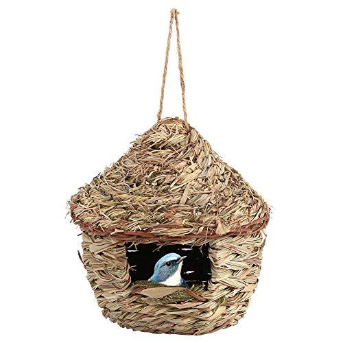 HEEPDD Maison des Oiseaux, Paille tissée à la Main Suspendue Maison des Oiseaux nid Birdhouse Accueil Jardin extérieur Hanging Decor pour Perroquet Canary Autres Oiseaux (L)