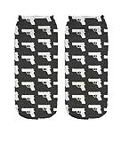 Ferocity Lustige Socken Sneaker Halbsocken Strümpfe Sportsocken Füßlinge mit Motiv 3D Black Guns [001]