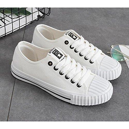DIMAOL Scarpe Donna Canvas Caduta Molla Comfort Sneakers Tacco Basso per Casual Rosso Bianco Nero Bianco