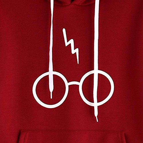 Felpa Donna Con Cappuccio Pullover Autunno Manica Lunga Gli Occhiali Harry Potter Elegante Sportiva Cappotto Giacca Stampare Sweatshirt Hoodies Moda Tasca Frontale Rossi