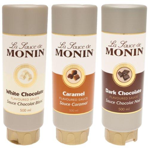 Monin Flavoured Saucen-Set, Karamell, Helle & Dunkle Schokolade, 3er Set, 3 x 500 ml