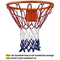SStaste Juego de 2 Redes de Baloncesto Resistentes para Uso en Interiores o Exteriores (Rojo/Blanco/Azul)