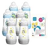 MAM Anti Colic Flasche 260 ml 6er Pack Boys inkl. Sauger Größe 1 ab Geburt + MAM Hygienetücher, 24 Stück Gratis