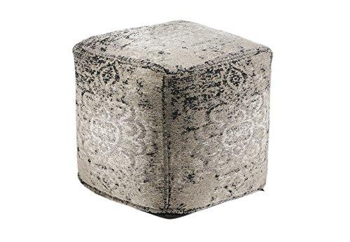 Kobolo Orientalischer Sitzpouf Pouf Sitzwüfel Hocker Gray aus indischem Webstoff -
