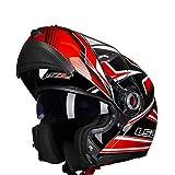 Mdsfe Casco da moto originale per uomo e donna con doppia visiera parasole, casco da moto modulare resistente ai raggi UV con visiera parasole interna - 18 X XXL