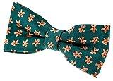 Retreez Herren Gewebte vorgebundene Weihnachten Fliege Lebkuchenmann 11.5 cm - grün, Weihnachtsgeschenk