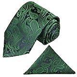 Krawatten Set 2tlg Krawatte + Einstecktuch von Paul Malone grün blau paisley Hochzeitsmode Bräutigam