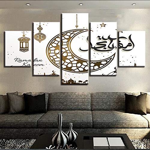 hhlwl Modulare HD-Drucke Poster Home Decor 5 Stücke Islam Allah Der Koran Bilder Muslim Leinwand Gemälde Wohnzimmer Wandkunst Rahmen-20x35/45/55cm-frame