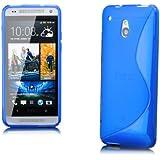 iCues HTC One Mini M4 |  S-Line TPU Case Blau | [Display Schutzfolie Inklusive] Transparent Klarsichthülle Durchsichtig Klare Klarsicht Silikon Gel Schutzhülle Hülle Cover Schutz