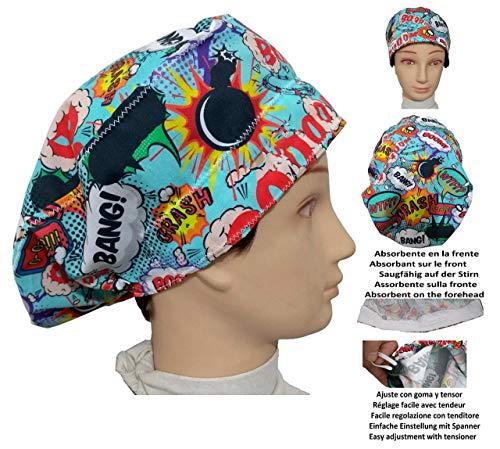 OP-Haube BOOM für langes Haar, Chirurgie, Zahnarzt, Tierarzt, Küche, Handtuch vorne, verstellbar mit Spannrolle - Einheitliche Medizinische