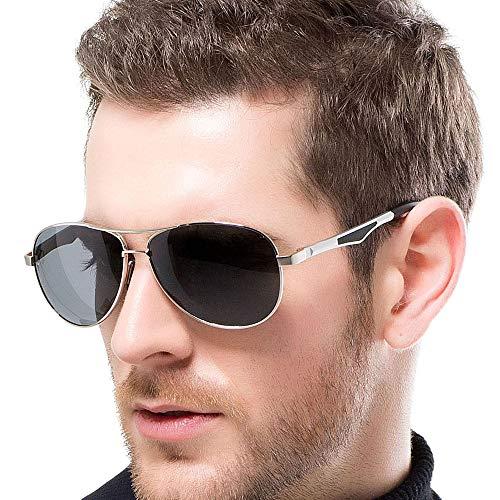 FLY HAWK Polarisierte Sonnenbrille Pilotenbrille UV400 Schutz Metallrahmen Gespiegelte Linse Unisex Revo Sonnenbrille (Grau)