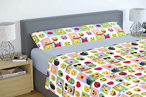 Energy Colors Textil - Hogar Funny Juego Sábanas Estampada Infantil Cama 90 Verano Poliester (Emoj)