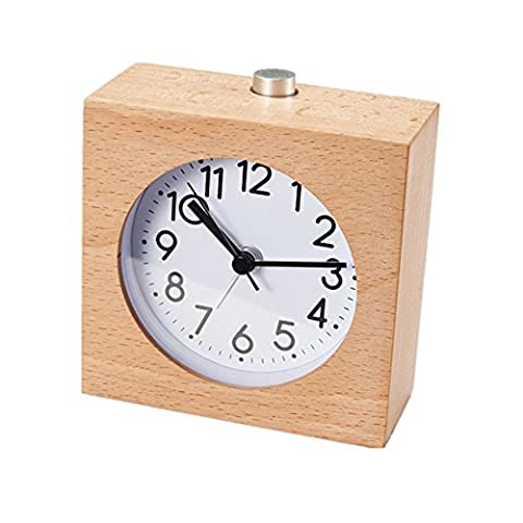 Jinberry Silent Sweep Handmade Square Wooden Snooze Alarm Clock with