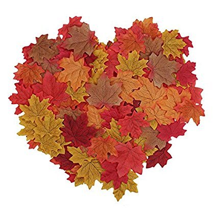 Surtido de 100 hojas de arce artificiales, de la marca Wady, en colores de otoño. Hojas de seda para decoración de mesa para bodas y fiestas otoñales