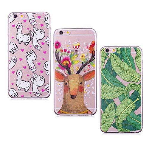 3X Cover iPhone 6S Plus 6 Plus, E-Unicorn Cover Custodia Apple iPhone 6S Plus 6 Plus Silicone Morbido Trasparente Cover Unicorno Panda Sigilli TPU Gomma Morbida Colorate Ultra Slim Bumper Case Modello Banane Fiori Cervo Pecore