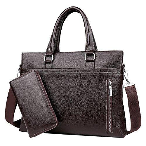 Yy.f Borsa In Pelle Da Uomo Fashion Fashion Borsa Da Lavoro Slim Classic Borsa Da Viaggio Pratica (nero E Marrone) Marrone + Borsa
