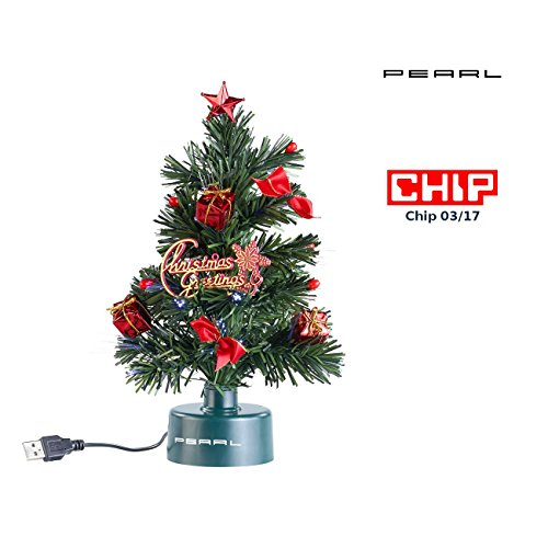 PEARL Mini Weihnachtsbaum: USB-Weihnachtsbaum mit LED-Farbwechsel-Glasfaserlichtern (USB Tannenbaum)