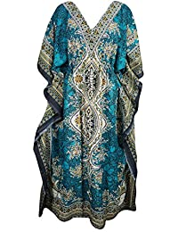5ee390a6ad ... for Clothing   Accessories   Indiatrendzs. Indiatrendzs Women s Caftans  Nighty Light Viscose Dashiki Maxi Dress Dori At Waist 56Inch (Green)