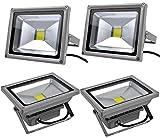 Leetop 4X Top-Qualität 20W LED Lampe Fluter Scheinwerfer IP65 Warmweiß Grau Aluminium Flutlicht Wasserdicht Strahler