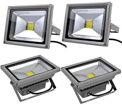 Leetop 4X 20W LED Scheinwerfer mit Kaltweiss Licht,Outdoor,graue Farbe,mit Befestigungswinkel,wasserdicht IP65 -