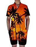chicolife Herren Jungen Coco Baum Lässige jumsuits Body Beach Party Anzüge 3D Grafik Erwachsene Strampler orange